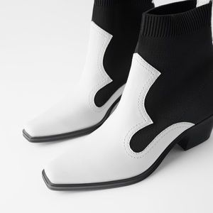ZARA Contrasting Stretch Ankle Boots